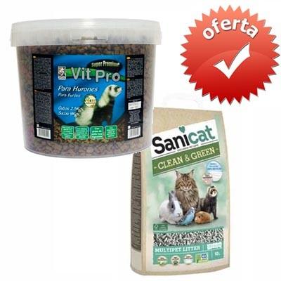 Pack Ahorro - Vit Pro Pienso Premium hurones y Sanicat Lecho Papel Reciclado