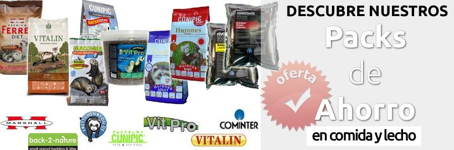 Packs de Ahorro en Comida y Lecho higienico para Hurones
